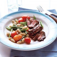 Skirt Steak with Warm Bean Salad