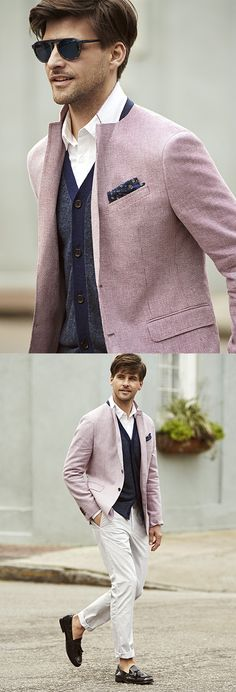 Give your look a subtle burst of color with our perfectly tailored red hued Italian cotton and linen blend sports coat. Pair this blazer with a button up shirt and a lightweight cardigan and slacks for a cool summer ready look | Banana Republic