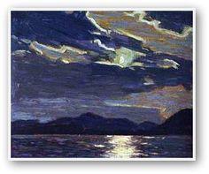 Hot Summer Moonlight ~ Tom Thomson, Group of Seven Emily Carr, Group Of Seven Artists, Group Of Seven Paintings, Canadian Painters, Canadian Artists, Nocturne, Landscape Art, Landscape Paintings, House Paintings