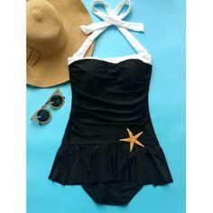 Fashionable Women's Halter Ruffled One-Piece Swimwear