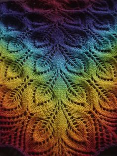 Free pattern: Nightsongs. Very delicate looking in solids. Very cool in rainbow.