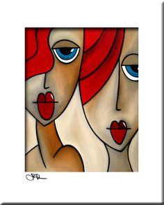 Abstract painting Modern pop Art print Contemporary colorful portrait face decor by Fidostudio - And She Was