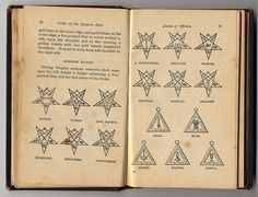 Old Eastern Star ritual book showing the officer's badges. Last position I held was MANY, MANY years ago was Esther (bottom left triangle on the right page). The Jewish Queen who saved her people. Happy With My Life, Jobs Daughters, Masonic Lodge, Templer, Eastern Star, Freemasonry, Knights Templar, Book Show, New World Order