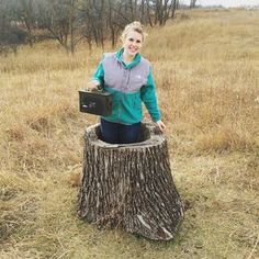 """original uploader: """"How convenient that this stump was transplanted here...oh a geocache! My first of 74 """"Call of the Wild"""" geocaches.""""  #IBGCp"""