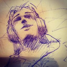 The zone - #ballpoint #pen on #napkin #sketch #illustration #drawing #girl #headphones #music #happy #art #artist