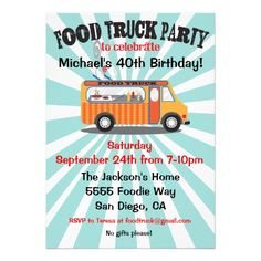 Shop Food Truck Party Invitations created by McBooboo. Food Truck Party, Food Truck Catering, Catering Ideas, Catering Buffet, Food Trucks, Big Trucks, Pickup Trucks, Taco Party, Dually Trucks