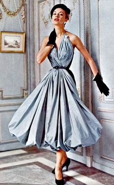 So pretty ~ Madame Grés 1953. Her waist is impossibly small - dang!