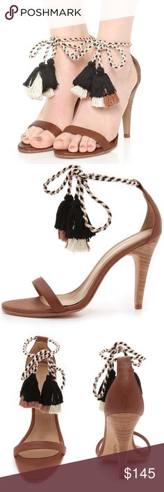 Ulta Johnson Reina Tassel Heels Colorblock tassels finish the braided ties on these burnished leather Ulla Johnson sandals. Stacked heel. Leather sole. Size 38, these have been worn once. Lovely 😊.   Leather: Cowhide. Imported, Peru.  Measurements Heel: 3.75in / 95mm Ulla Johnson Shoes Heels