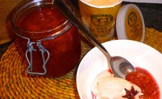 Rhubarb and raspberry compote with Caroline's Dairy Sea Buckthorn ice cream!