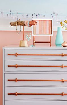 The Finishing Touch Transform a piece of outdated furniture with rugged drawer pulls made from copper pipe and fittings. Furniture, Retro Home Decor, Painted Furniture, Copper Diy, Drawer Pulls, Home Decor, Diy Furniture Projects, Home Diy, Diy Drawers