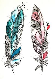 blue & red Feathers painted