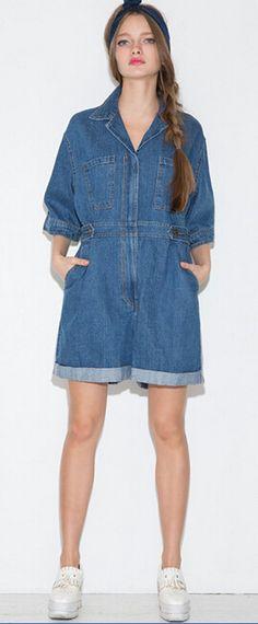 6b54992c0f6 High Street Casual Pocket Decoration Denim Jumpsuit