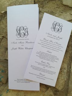 Custom Wedding Menu, Tea Length with Monogram