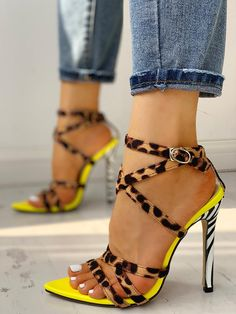 Shop Multi-Strap Crisscross Thin Heeled Sandals right now, get great deals at joyshoetique Stilettos, Pumps Heels, Stiletto Heels, High Heels, Heeled Sandals, Shoes Sandals, Yellow Shoes Heels, Dress Shoes, Strappy Heels