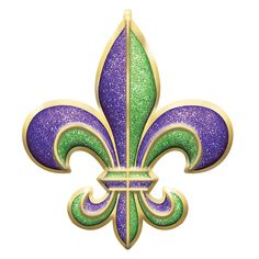 Add some southern style to your Mardi Gras celebration with this Fleur de Lis Decoration! This plastic decoration features a glittery green, gold, and purple Fleur de Lis. Mardi Gras Centerpieces, Mardi Gras Decorations, Glitter Decorations, Mardi Gras Food, Mardi Gras Beads, Mardi Gras Parade, Glitter Letters, Glitter Toms, Glitter Converse