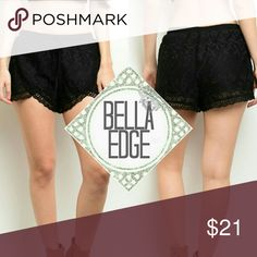 🆕 Black crochet lace shorts 💎100% POLYESTER 💎These fun crochet shorts are a spring/summer staple! Features full lining, a gathered waistline, scalloped trim and tulip style cut pant legs 💎Size medium (fits 6-10) Bella Edge Boutique Shorts
