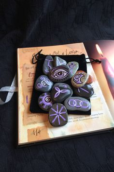 13 Witches Runes & Pouch. Welsh Sea Stone Rune Set. Witch Wicca Pagan Divination by wildseawitch on Etsy