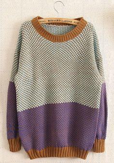 Purple Color Block Long Sleeve Wool Blend Sweater