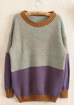 Purple Color Block Long Sleeve Wool Blend Sweater