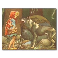 +vintage+Little+Red+Riding+Hood+Wolf+Drawing | Vintage Little Red Riding Hood and Wolf in Forest Postcards