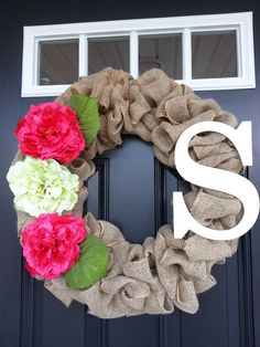 Burlap Pink Peony Wreath with Letter by SimplySundayShop on Etsy, $60.00