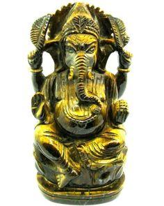 1983Ct Tiger Eye Gemstone Carved Lord Ganesha Hindu Deity God Art Sculpture