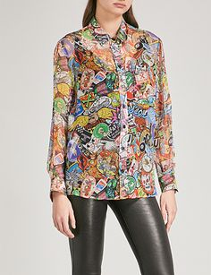 MOSCHINO Printed silk-chiffon shirt