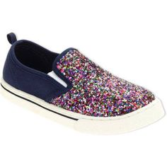 Faded Glory Girls Glitter Canvas Shoe, Infant Girl's, Size: 4, Blue