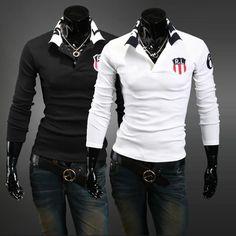 Freeshipping  collar lapel Wireless Laptop Mens T Shirt men's Long Sleeve t shirt slim t-shirt  for men #regalo #arte #geek #camiseta