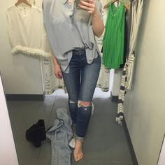 J Brand Distressed Blue Denim Straight leg skinny fit. Distressed at the knees. So on trend! J Brand Jeans