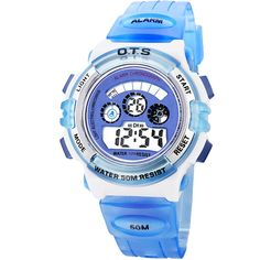 Waterproof Digital Sport Watch for Boys Kids Wristwatch. Japanese quartz movement, high-grade material. Watch band length: from 5.39 to 7.67 inches. Great gift for your children, convenient for life. Date, day, month, second, minute, hour displaying, alarm, chronograph function. Recommended age: more than 10 years old.