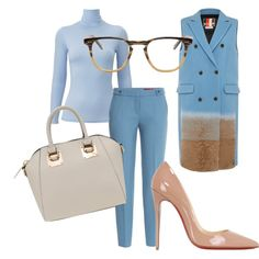 work outfit by diana1201 on Polyvore featuring mode, Uniqlo, MSGM, HUGO, Christian Louboutin and Garrett Leight