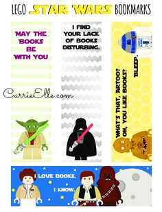 Lego Star Wars Printable Bookmarks from Carrie Elle