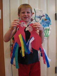 Parrot or a Patriotic Parrot Rainforest Crafts, Rainforest Activities, Pirate Activities, Rainforest Theme, Preschool Projects, Classroom Crafts, Preschool Ideas, Summer Camp Crafts, Camping Crafts