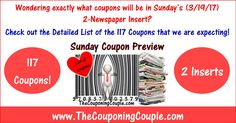Wondering exactly what coupons we are expecting in Sunday's (3/19) 2 newspaper inserts? Click the Picture below to get the Detailed List of all 117 Coupons ► http://www.thecouponingcouple.com/sunday-coupon-preview-for-3-19-17/  Use the SHARE button below the Picture to SHARE this Deal with your Family and Friends!  #Coupons #Couponing #CouponCommunity  Visit us at http://www.thecouponingcouple.com for more great posts!