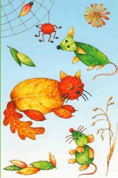 Осенние поделки для детей, аппликация из листьев  - Кот и мышка