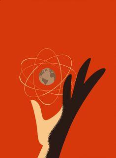 our friend the atom big Chernobyl, 2 Logo, Retro Futuristic, Atomic Age, Science Art, Graphic Design Posters, Vintage Advertisements, Vintage Posters, Illustration Art