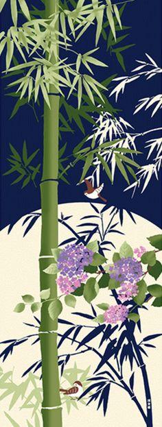 Japanese Tenugui Towel Fabric Hydrangea Floral Bamboo Hand