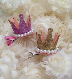 Gold or Pink Glitter Princess Crown Hair Clip with by MylaMoos