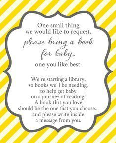Encourage guests to bring books to your baby shower with this Yellow Stripes Book Insert.
