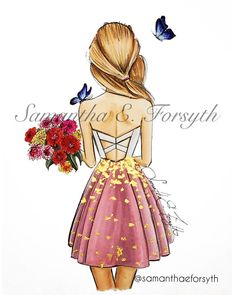 Fashion illustration, Butterfly Bouquet