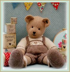 Romeo the Bear by MaryJane's Tearoom knitting Pattern $4.90 on Etsy at http://www.etsy.com/listing/117443745/romeo-bear-teddy-bear-knitting-pattern?ref=shop_home_feat