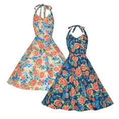 Lindy Bop Myrtle Classy Vintage 1950s Halter Neck Miami Floral Swing Party Dress