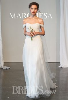 Grecian-Inspired Off-the-Shoulder Silk Chiffon A-Line Marchesa Wedding Dress - Spring 2015 Collection