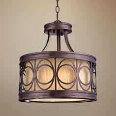 """Golden Bronze 15"""" Wide Convertible Pendant Light -"""