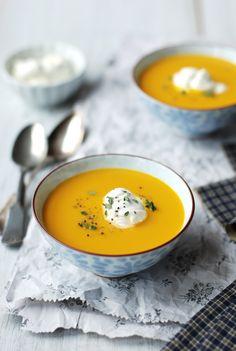 Sopa de auyama con queso fresco