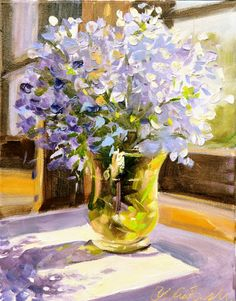 BLUE PELARGONIUMS, Art Print of original oil  painting by CeciliaRosslee,blue flowers in amber glass vase