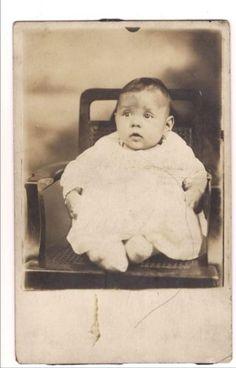 RPPC-Chubby-Baby-Big-Eyes-Vintage-Real-Photo-Postcard-Post-Card-Vtg-1918-1930