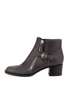 Gianvito Rossi Leather Boots with Buckled Side Zip, Black