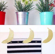 Free Shipping Banana Glitter Garland / gold glitter banner / banana party / fruit banner/ tropical party/luau/birthday decoration